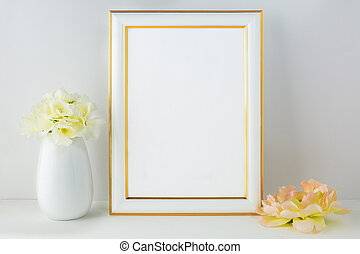 Frame mockup with ivory hydrangea. Frame mockup. Poster...