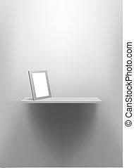frame., mur, étagère, vide, photo, blanc