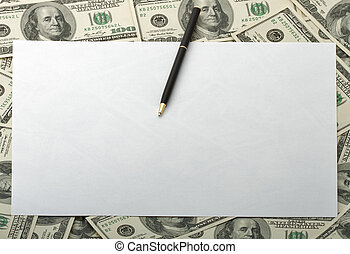 Frame of 100 dollar banknotes with black pen