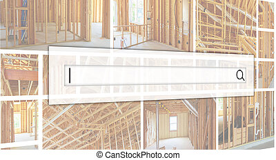 Frame of a wall and a ceiling of a wooden house, vapor...