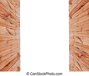 frame of a wooden fence on the sides with space for text