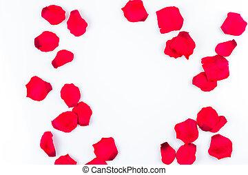 Frame of artificial rose petals