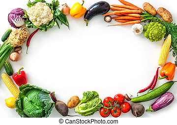 Frame of assorted fresh vegetables