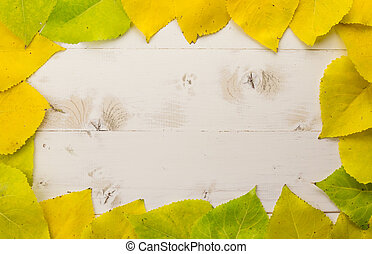 Frame of autumn leaves in yellow and green