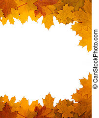 Frame of autumn leaves on a white background