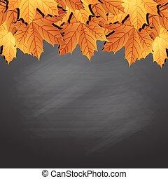 Frame of autumn leaves on black chalkboard.