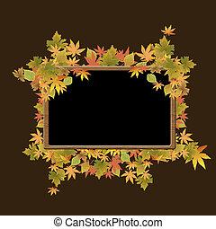 Frame of autumn leaves on wood texture background, vector...