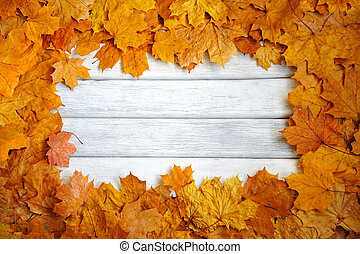 Frame of autumn, yellow leaves on a white, wooden surface. autumn background.