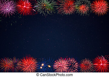 Frame of beautiful celebration golden, red, purple, green sparkling fireworks