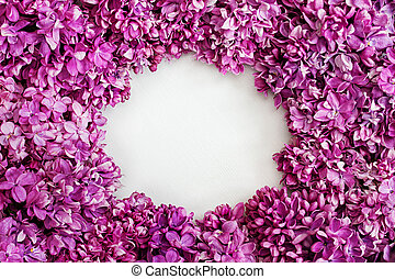 Frame of beautiful flowers lilac. With copy-space.