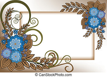 frame of blue flowers