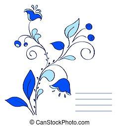 blue flowers.