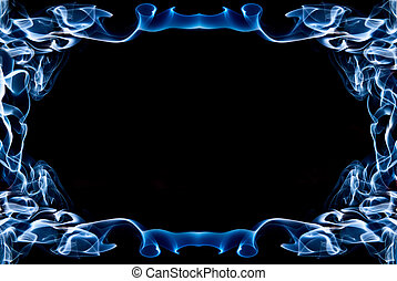 Frame of blue smoke on a black background