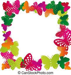 frame of butterflies