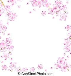 Frame of cherry blossom flowers.