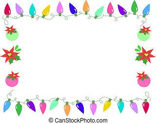 Frame Of Christmas Bulbs And Holiday Flowers