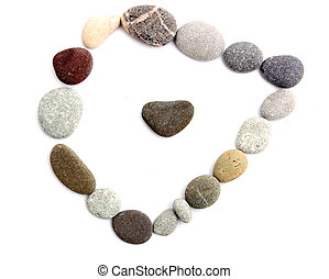 frame of colored sea stones on a white background