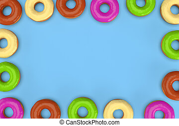 Frame of colorful donuts on blue background