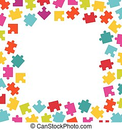 Frame of colorful jigsaw puzzle pieces.