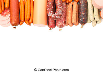 Frame of different sausages isolated on white background, top view