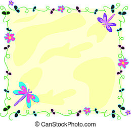 Frame of Dragonflies, Vines, and Fl