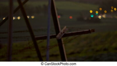 Frame of electricity pylon against the bokeh vehicle lights 4K 4k