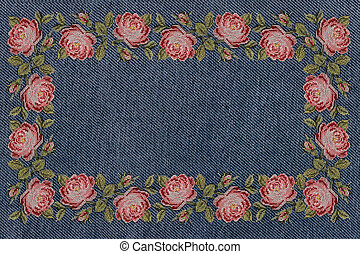frame of embroidered pink roses