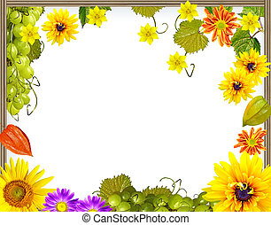 Frame of flowers and foliage