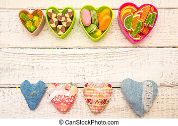 frame of flowers and hearts background