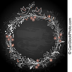 Frame of flowers on a black background