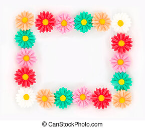 Frame of flowers on a white background.