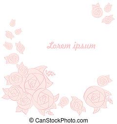 frame of flowers roses on a white background