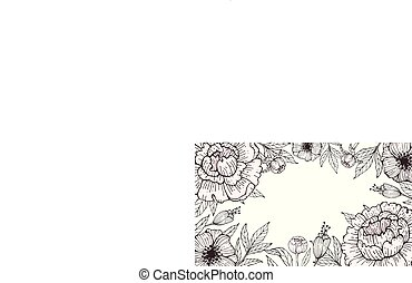 Frame of flowers with peonies on a white background.