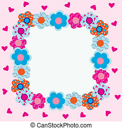 Frame of flowersearts with pink h