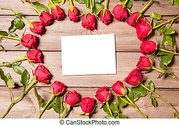 Frame of fresh roses