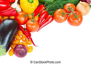 frame of fresh vegetables close up