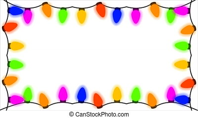 frame of garlands of different colors on a white background...