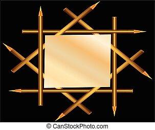 Frame of gold pencils.