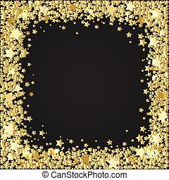 Frame of gold stars on black background with space for text, vec