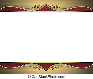 Frame of Golden edges with golden ornaments on a red ribbon. Design template. Design site