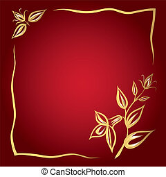 Greeting card with golden flowers and frame on the red background.