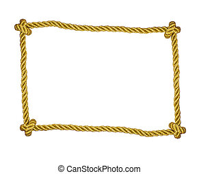 Frame of golden rope isolated on white
