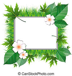 Frame of grass and leaves