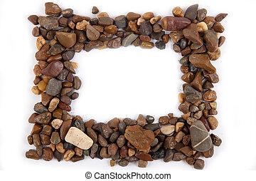frame of gravel on a white background