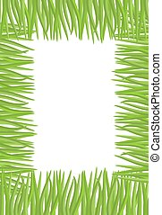 Frame of green grass. Natural vector illustration with space for text