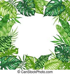 Frame of green tropical leaves
