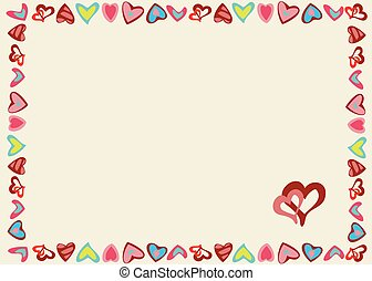 Frame of hearts on a yellow background