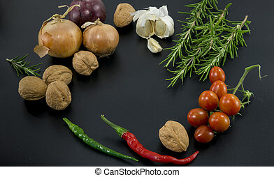 frame of herbs and vegetables - frame of different...