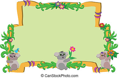 Frame of Koalas and Flowers - Here is a wooden frame with...