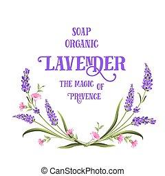 Frame of lavender flowers.